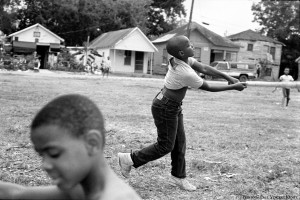 Boys playing baseball - Cleveland Turner's house seen in distance - 1987