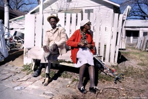 Eugene Roberts sits with his neighbor Crzetta Ghilcreast - 1986