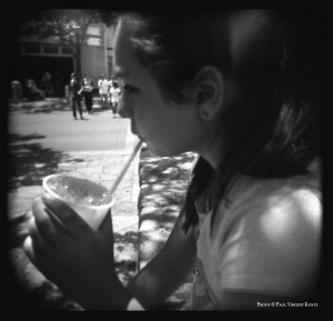 Aria with snowcone - San Antonio TX  7-2015