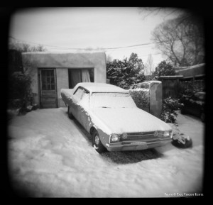 Car with snow - Santa Fe NM  1-2001