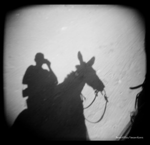 Self-portrait on donkey - Boquillas Mexico  3-2000